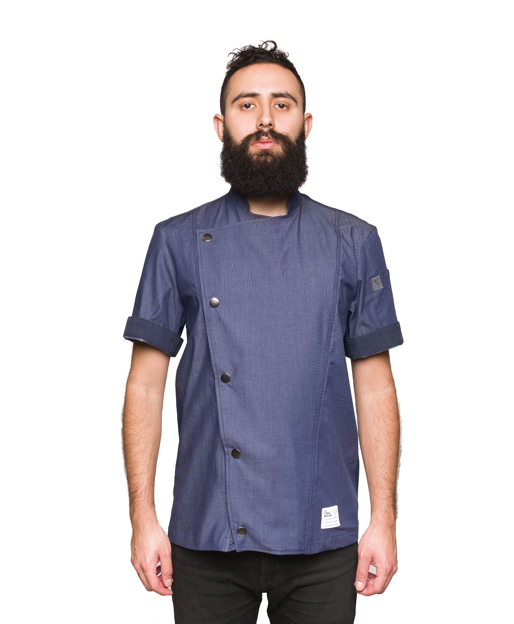 Crew Apparel Men's Chef Coat The Hipster Made In America (Navy, Large)