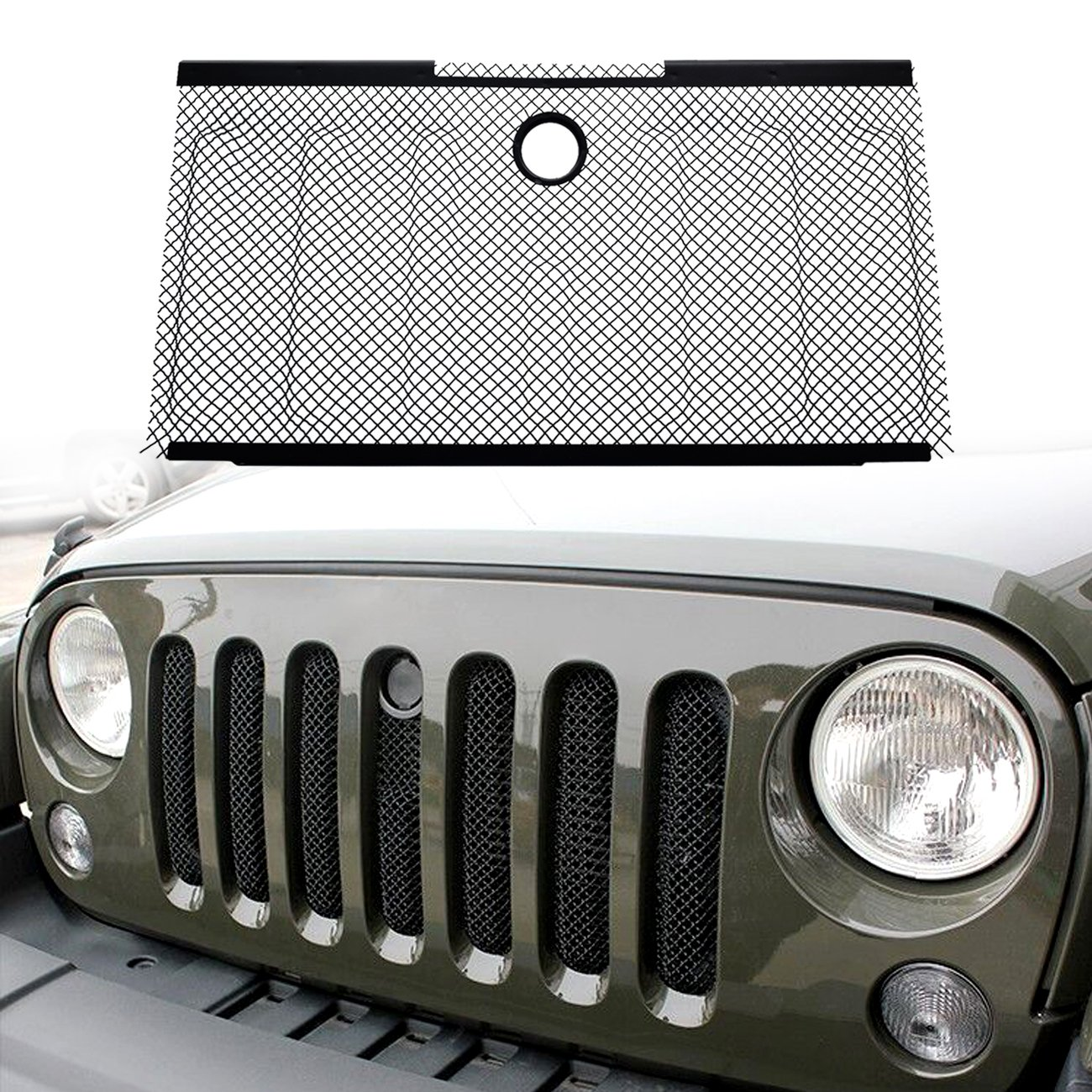DIYTUNINGS Front Mesh Grille Grill Grid Inserts Bug Screen with Key Hood Lock for Jeep Wrangler JK JKU Unlimited Rubicon Sahara X Off Road Sport Exterior Accessories Parts 2007-2015