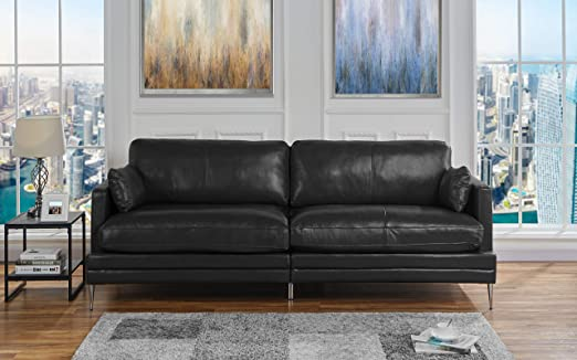 Black Leather Upholstered Sofa Couch | Modern Black Wide Top Grain Leather  Couch Sofa w/ 2 Accent Pillows, Lounger Home Furniture Small/Large Sofas &  ...