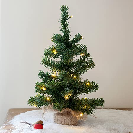 Lights4fun 45cm Mini Christmas Tree with 20 Warm White LED Battery ...
