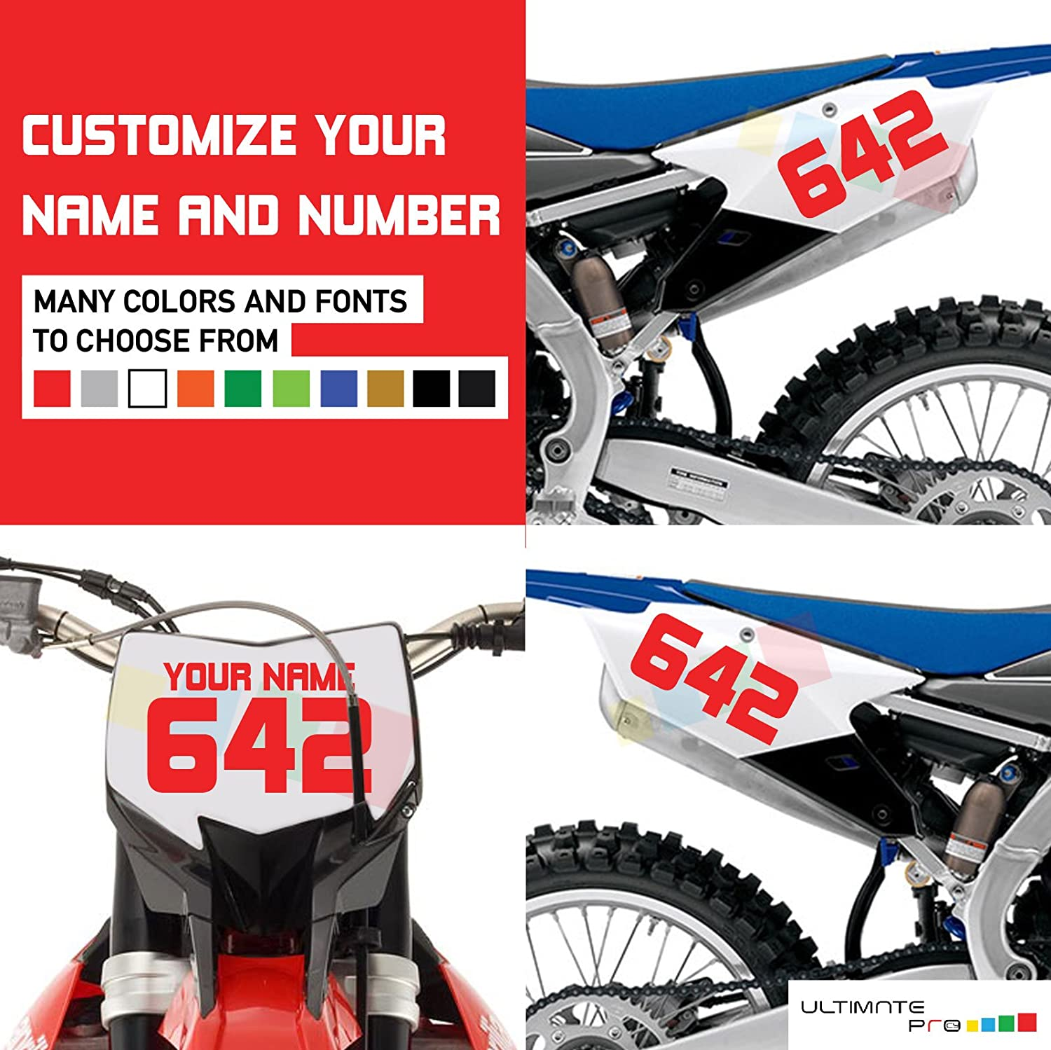 Amazon com 3x custom decal stickers for dirt bike motorcycle automotive