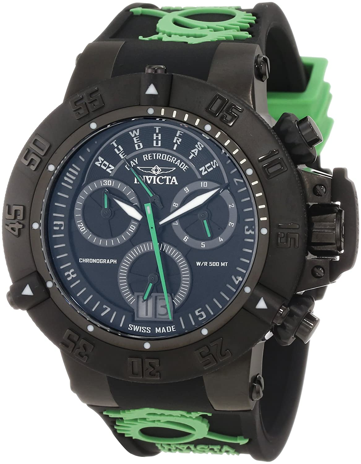 Amazon.com: Invicta Mens 10187 Subaqua Noma III Chronograph Black Dial Black and Green Silicone Watch: Invicta: Watches