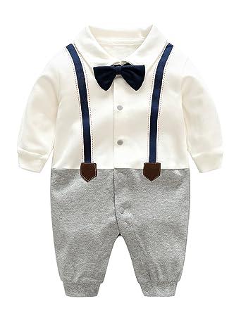 e694bc780 D.B.PRINCE Newborn Baby Boy Romper Jumpsuit Gentleman Suit Long ...