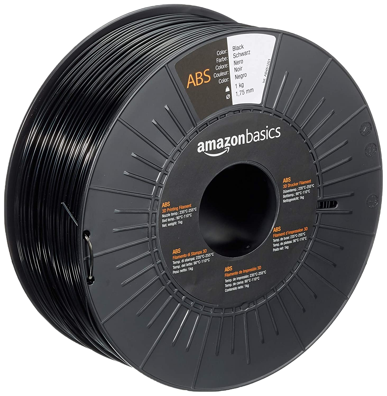 AmazonBasics - Filamento para impresora 3D, plástico ABS, 1,75 mm, cinta de 1 kg, negro