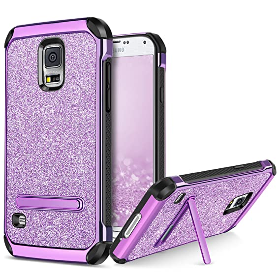 wholesale dealer 48878 08b6b BENTOBEN Phone Case for Samsung Galaxy S5, Kickstand Protective Glitter  Bling Cell Phone Cases 2 In 1 Hard PC Soft TPU Shockproof Cover with Luxury  ...