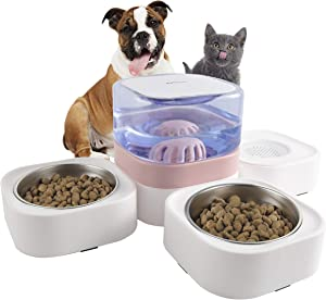 KIMPETS Cat Food and Water Bowl Set, 3-in-1 Detachable Cat Dog Bowl, No Plug in Pink Elevated Cat Bowl with 63.5 oz, Raised Dog&Cat Bowl with 2 Stainless Steel Cat Bowls, Cat Food Bowl for Indoor Cat