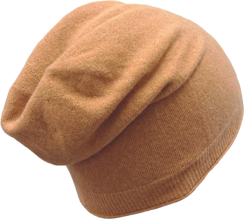 Cashmeren Plain Knit Unisex Beanie Cashmere Wool Extra Lightweight Warm Winter Slouchy Hat