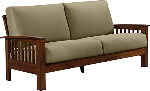 Domesis Mission Style Sofa with Exposed Cherry Wood Frame in Barley Tan Linen