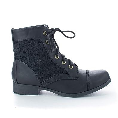 Amazon.com   Round Toe Crochet Lace Up Low Heel Combat Ankle ...