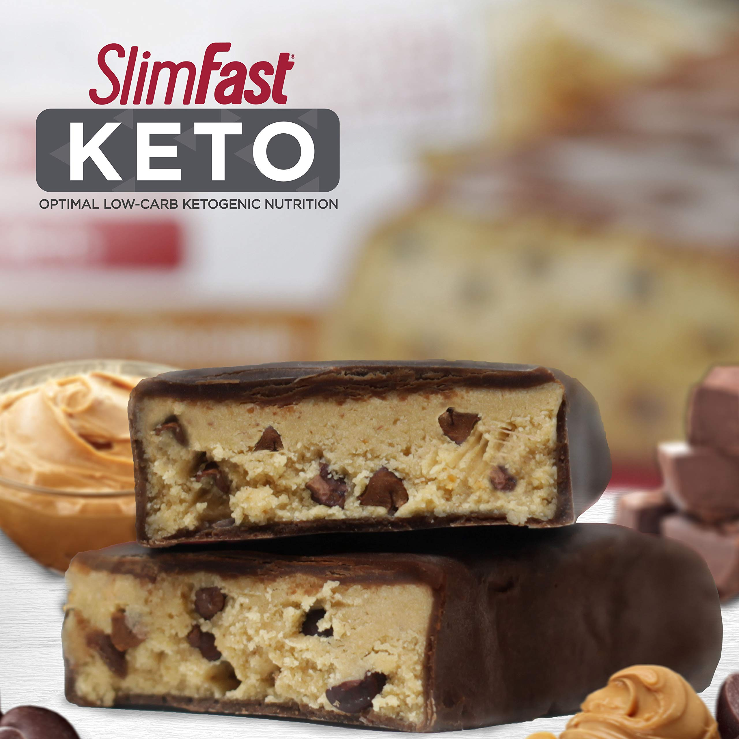 SlimFast 4 Piece Keto Meal Replacement Bar Peanut Butter Chocolate, 2.7 Pound by SlimFast (Image #5)