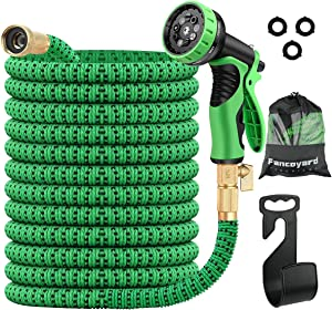 FancoYard Garden Hose 50ft Expandable Garden Hose with 9 Pattern Spray Nozzle, Lightweight Retractable Water Hose with 3/4