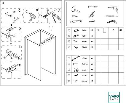MAMPARA DE DUCHA FIJA CRISTAL 8 MM CON TRATAMIENTO ANTICAL MAXIMA SEGURIDAD (80 CMS.): Amazon.es: Bricolaje y herramientas