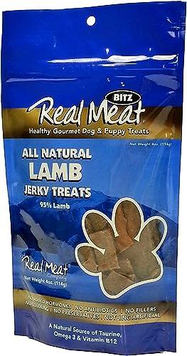 THE REAL MEAT COMPANY 828011 Dog Jerky Lamb Treat, 4-Ounce