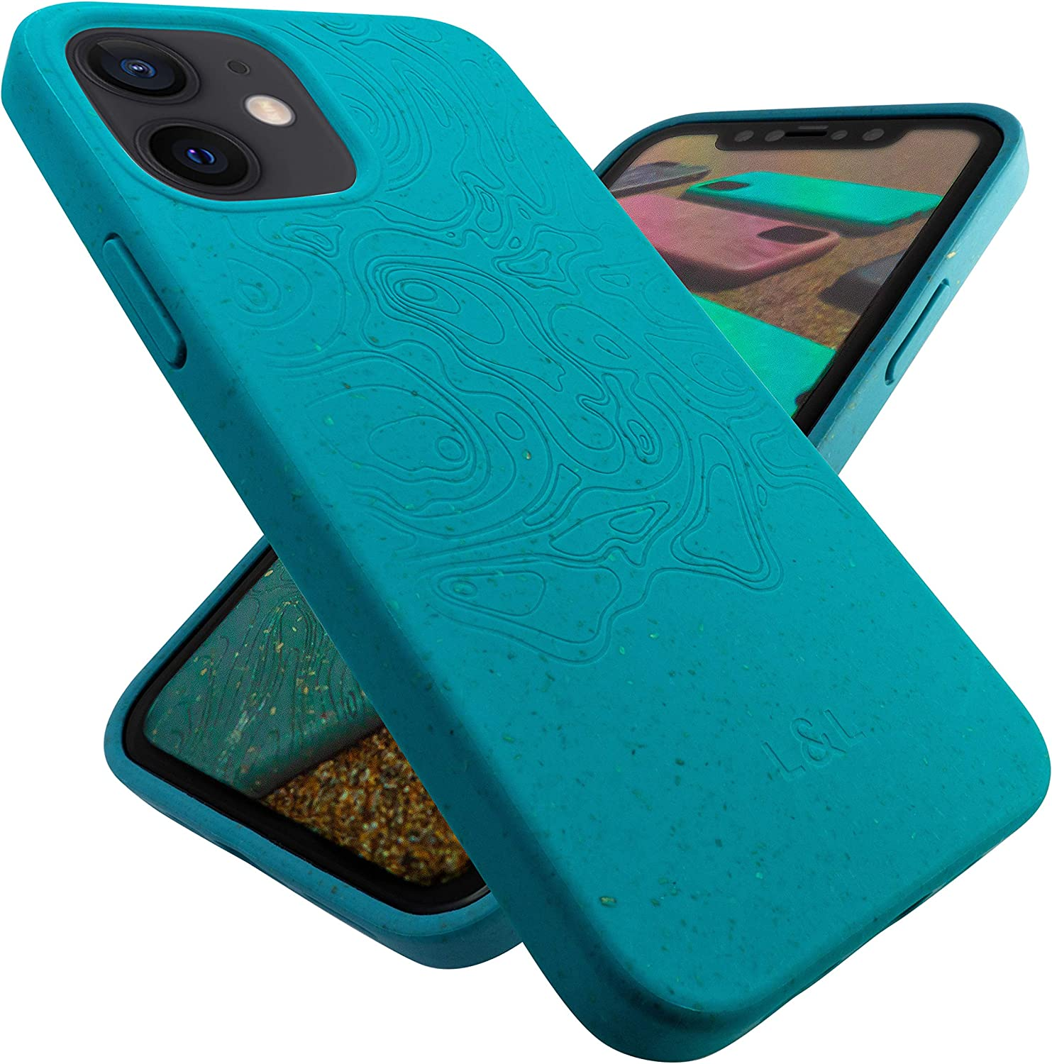 """Amazon.com: Slim Zero Waste Green Phone Case for iPhone 12 Mini 5.4"""", Self  Cleaning Biodegradable and Compostable Eco Friendly iPhone Case, Teal Green  Sustainable Protective Plastic Free Vegan Phone Cover"""