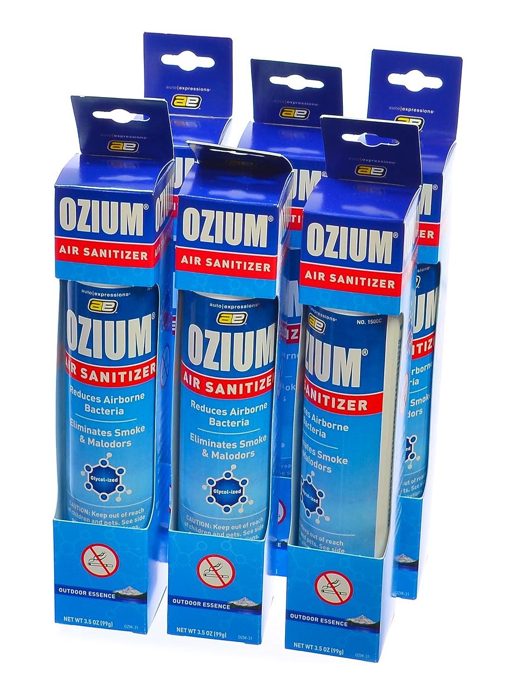 Ozium Smoke & Odor Eliminator Car & Home Air Sanitizer / Freshener, 3.5oz Spray Outdoor Essence (Pack of 6) by Ozium Auto Expressions