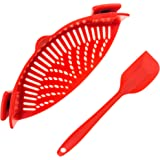 Kitchen Clip-on Snap'n Strainer Universal Design - BEST for Straining Pasta, Vegetables, Grease, Rice & Fruits - BPA Free FDA Approved - Includes Bonus Matching Silicone Spatula - Makes a Great Gift!