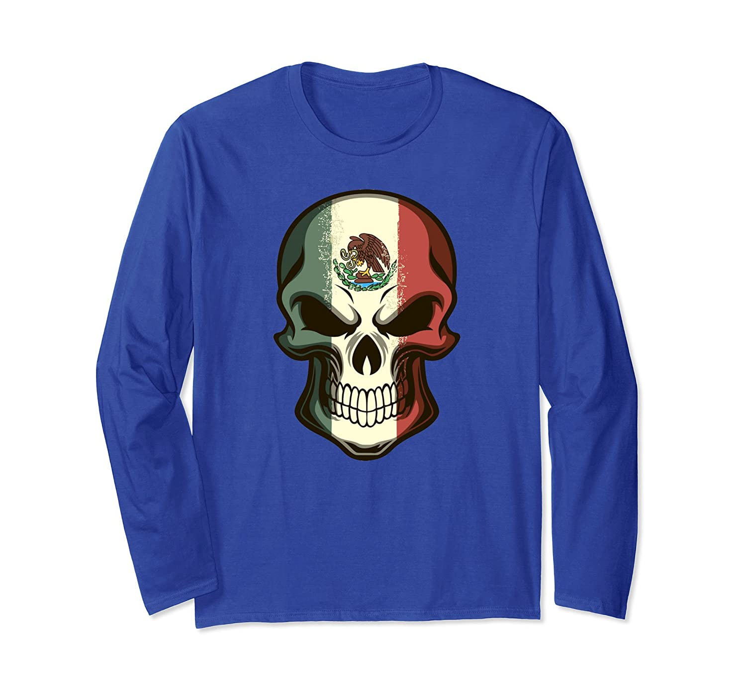 Awesome Mexico Shirts - Mexican Flag Skull Long Sleeve Tee-mt