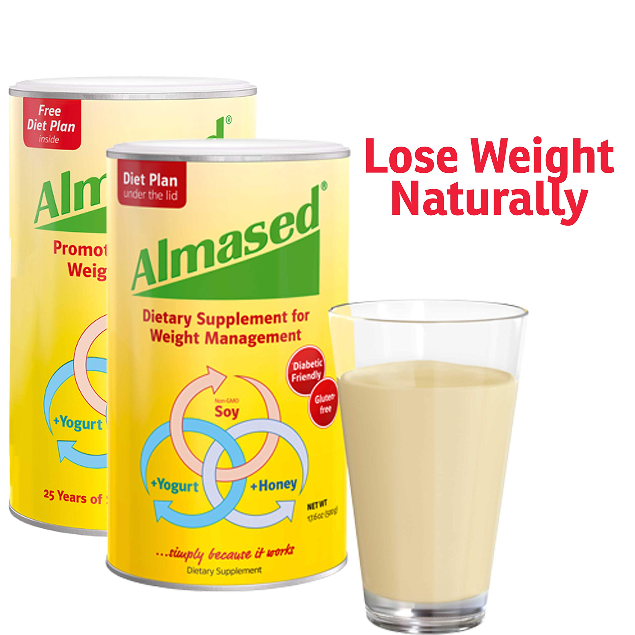 Almased Meal Replacement Shake - Plant Based Protein Powder for Weight Loss - Shake for Weight Management (2 pack +Blender Bottle Shaker and Diet Recipe Book) by ALMASED (Image #2)