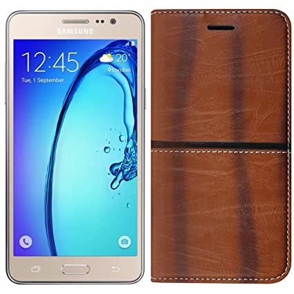 uk availability c46be 03e21 Roxel Samsung Galaxy On7 Rich Boss Leather Flip Cover with [ Stand View &  Card Holder Option ] Leather Flip Cover for Samsung On7/Samsung On7 Pro -  ...