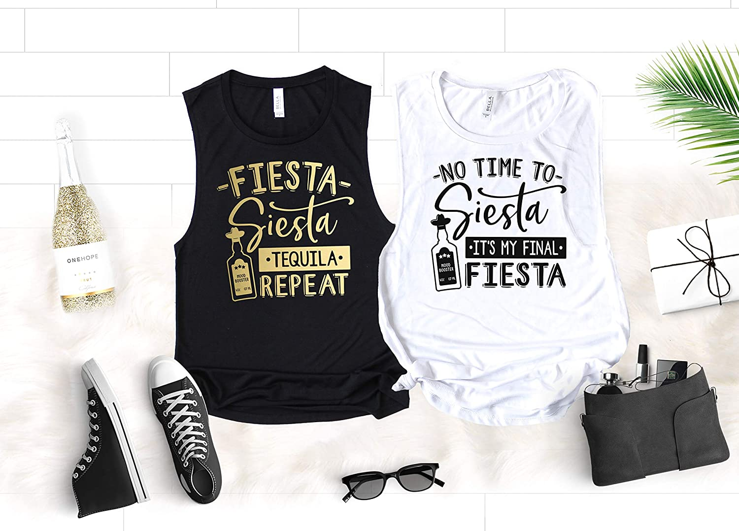 bffada056 Fiesta Bachelorette Party Shirts, Funny Cinco de Mayo Muscle Tanks for Bride  and Bridesmaids, No Time to Siesta It's My Final Fiesta and Fiesta Siesta  ...