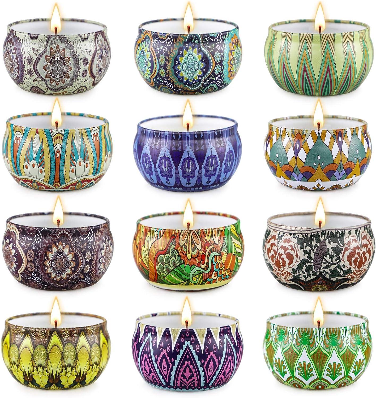 Velas Juego de 12 velas perfumadas para regalo para el día de San Valentín para mujeres, velas de soja para el hogar, velas pequeñas de 2.5 oz, ...