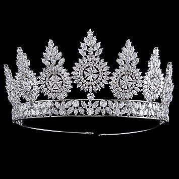 Santfe 5.7Inch Para Novia Feista Boda Fotograf/ía Corona Zircon Cristal Crystal