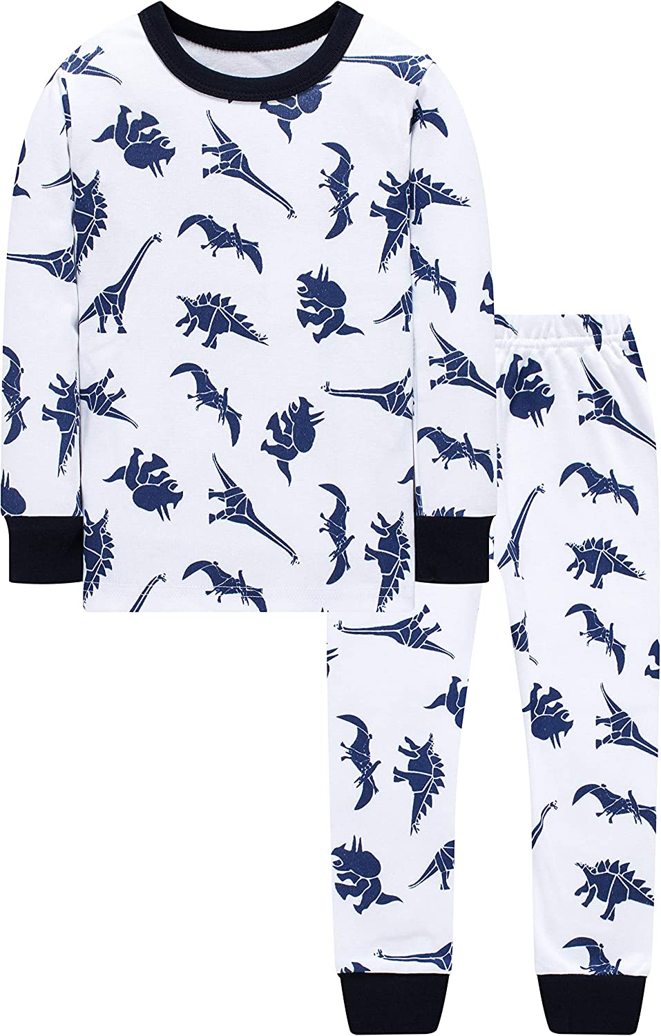 Pajamas for Boys Kids Christmas Children Sleepwear Grow in The Dark T-Rex Dinosaurs 4 Pieces Pants Set
