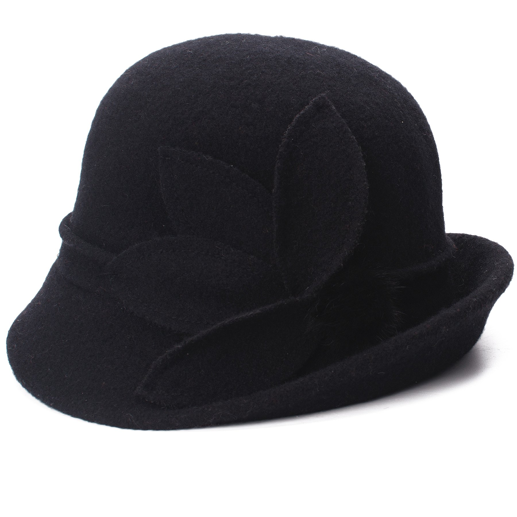 Lawliet Womens Retro Upturn Brim Wool Blend Cloche Church Wedding Hat A474 (Black)