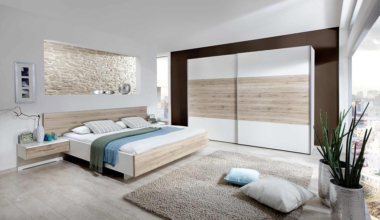 3-tlg. Schlafzimmer in alpinweiß und Santana-Eiche-Nachb, Schwebetürenschrank B: 250 cm, Bett 180 x 200 cm, 2 Nachtschränke je ca. 60 cm