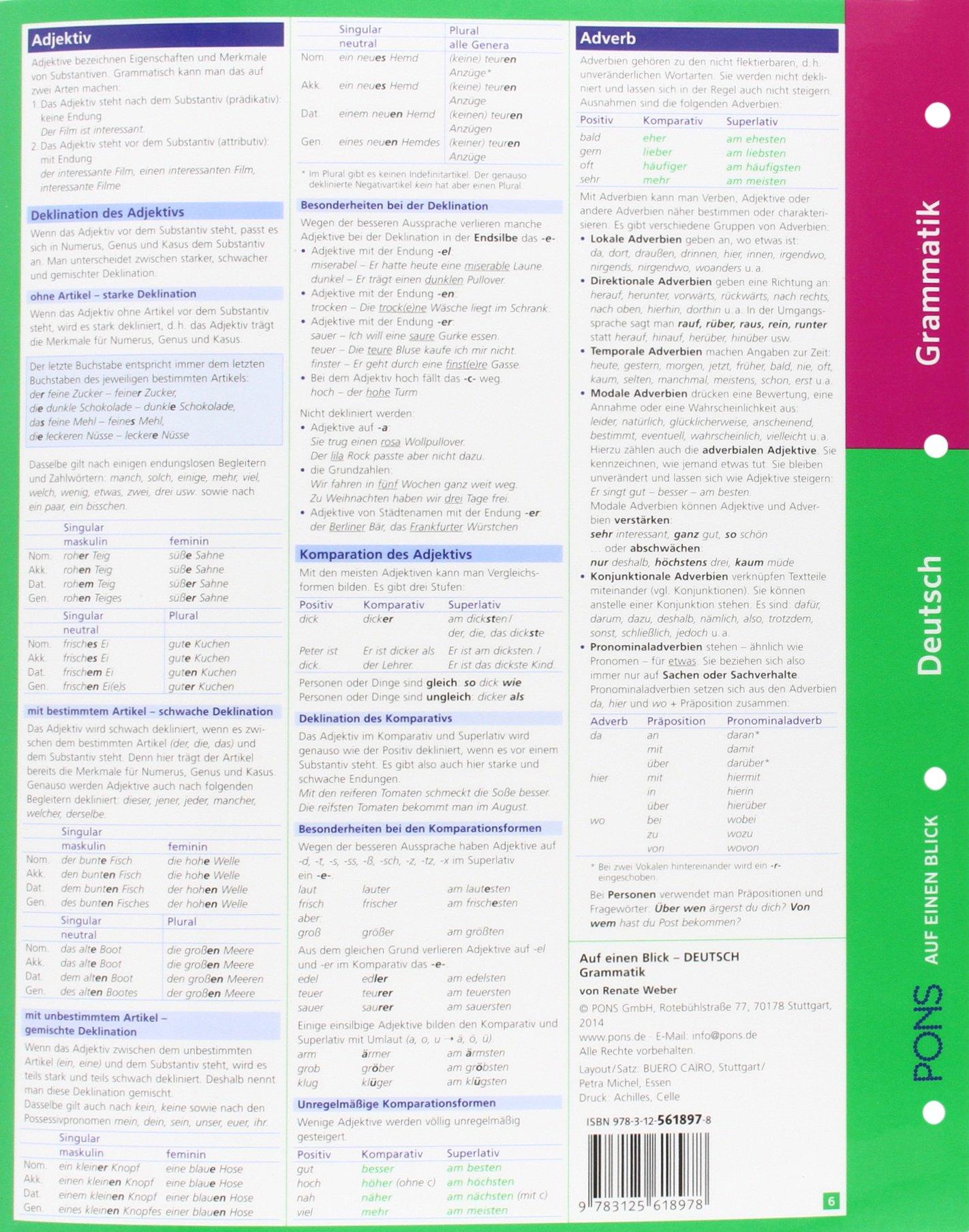 PONS Grammatik auf einen Blick Deutsch: Alle wichtigen grammatischen ...