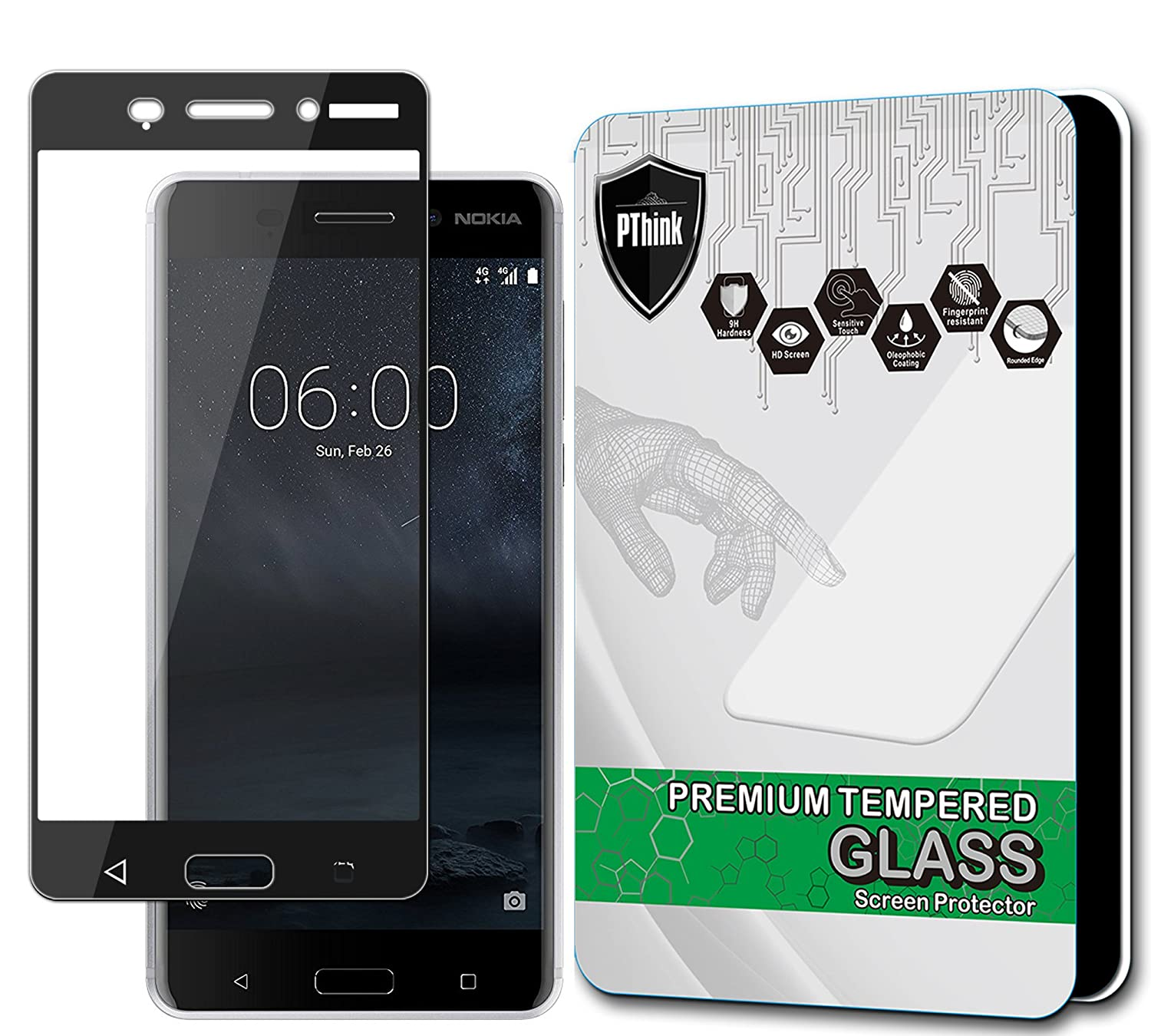 PThink [Full Screen Coverage] Tempered Glass Screen Protector for Nokia 6 Black Amazon Cell Phones & Accessories