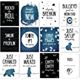 JumpOff Jo - Baby Milestone Cards To the Moon Monthly Photo Cards - 12 Cards, 24 Milestones - Original Designs Featuring Months & Milestones