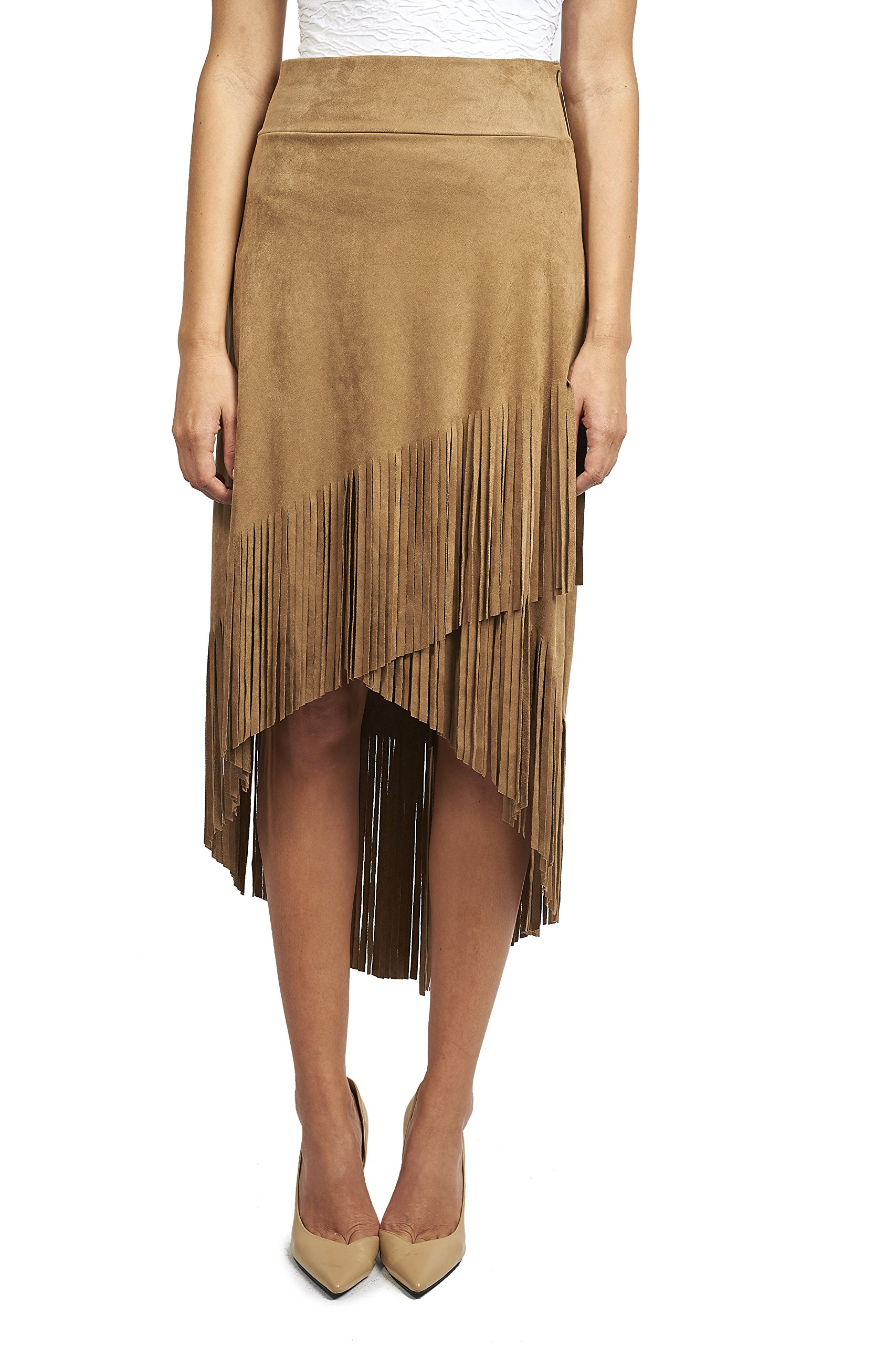Joseph Ribkoff Faux Suede Asymmetric Skirt with Fringe Style 171388 - Size 14 by Joseph Ribkoff (Image #4)