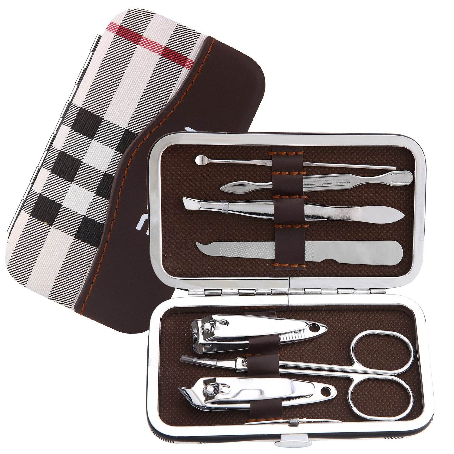 Romiky Stainless Steel Nail Clipper Set Professional Nail Cutter Grooming Kit 7 in 1 Manicure Beauty Tool Pack Pedicure Kit with Leather Case (Mixed color)