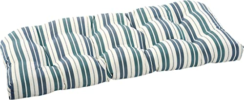 Quality Outdoor Living 29-MS1SLV Tufted Loveseat Bench Cushion, Machine Blue Stripe