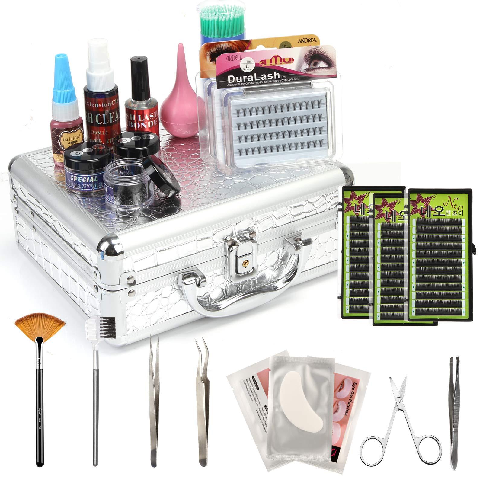 Baisidai False Lashes Individual Extension Eyelash Micro Brushes Glue Tools Kits Case Set by BAISIDAI