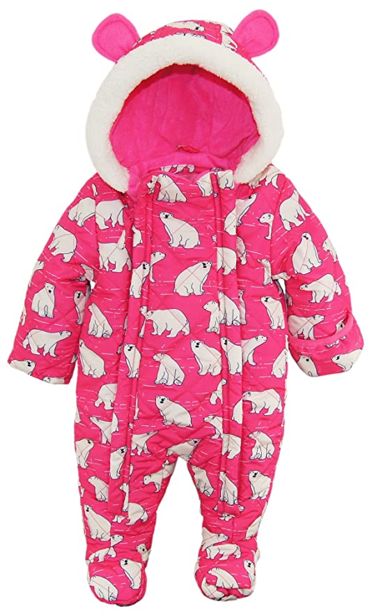 34020585924b Wippette Baby Girls Newborn Polar Bear Microfiber Quilted Snowsuit ...