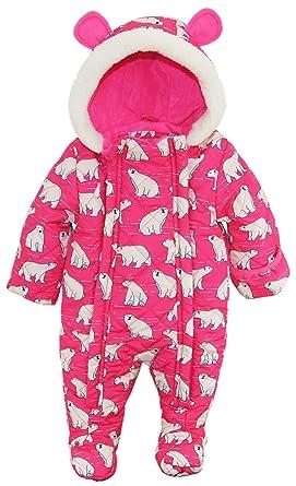 Amazon.com: Wippette Baby Girls Newborn Polar Bear Microfiber ... : quilted snowsuit for baby - Adamdwight.com
