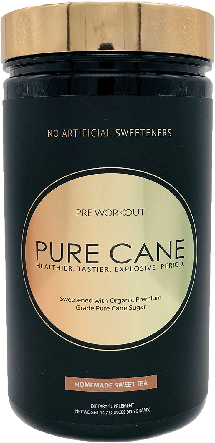 Pure Cane Natural Pre Workout – No Artificial Sweeteners, Explosive Energy, Great Taste, Creatine for Strength Gains Nitric Oxide Boosters for Insane Pumps – Homemade Sweet Tea