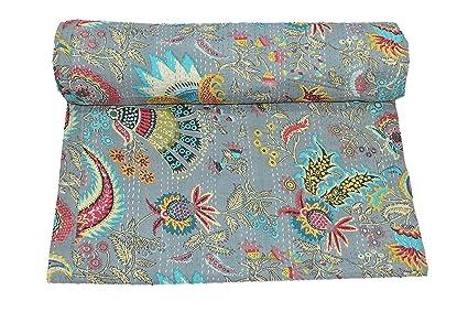 Amazon Com Sultan Handicrafts Light Grey Multicolor Mukut Print