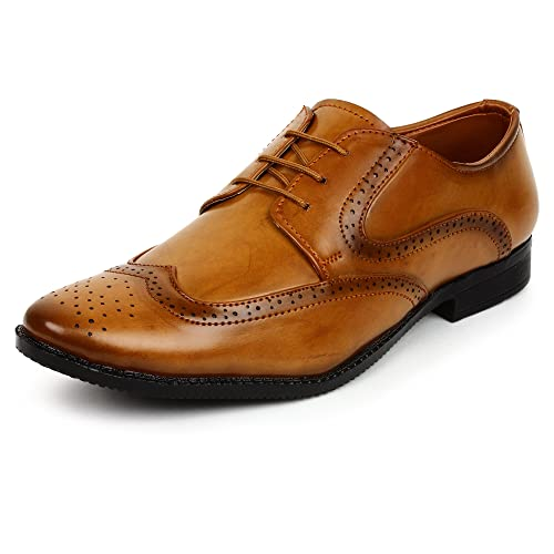 BUWCH Men Brown Formal Brogue Shoe-6UK