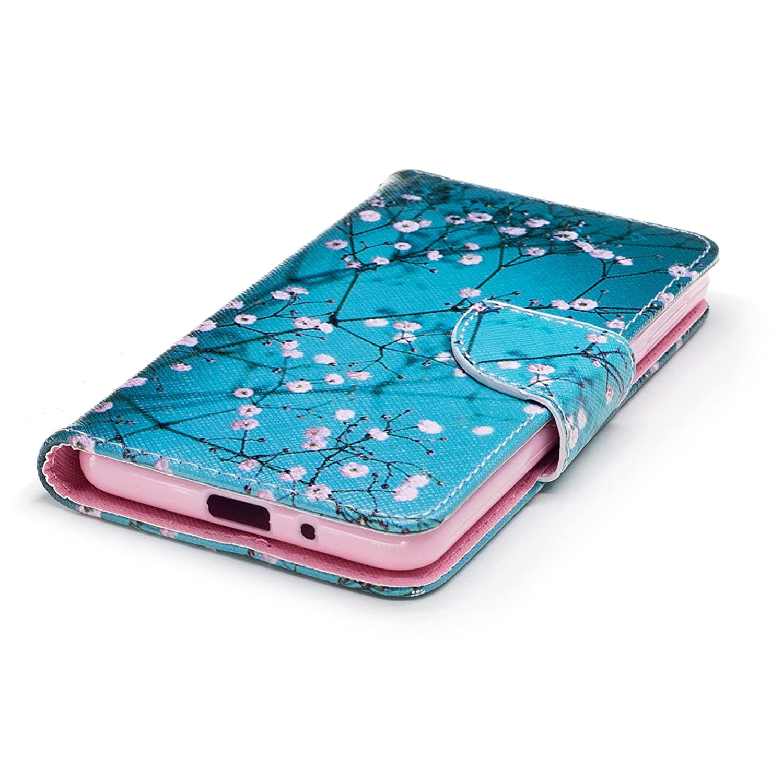 Ooboom Samsung Galaxy A8 2018 Custodia Flip in Pelle PU Cuoio Copertura Case Cover Wallet Portafoglio Supporto con Carte di Credito e Porta Titolare di Cassa Albero Bianco