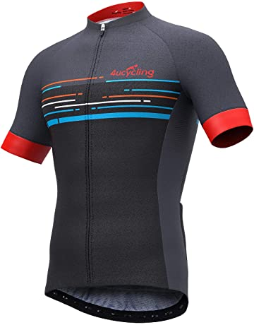 4e85787d5 4ucycling Men s Short Sleeve Cycling Jersey Newest in 2019 with 3 Rear  Pockets - Full Zip