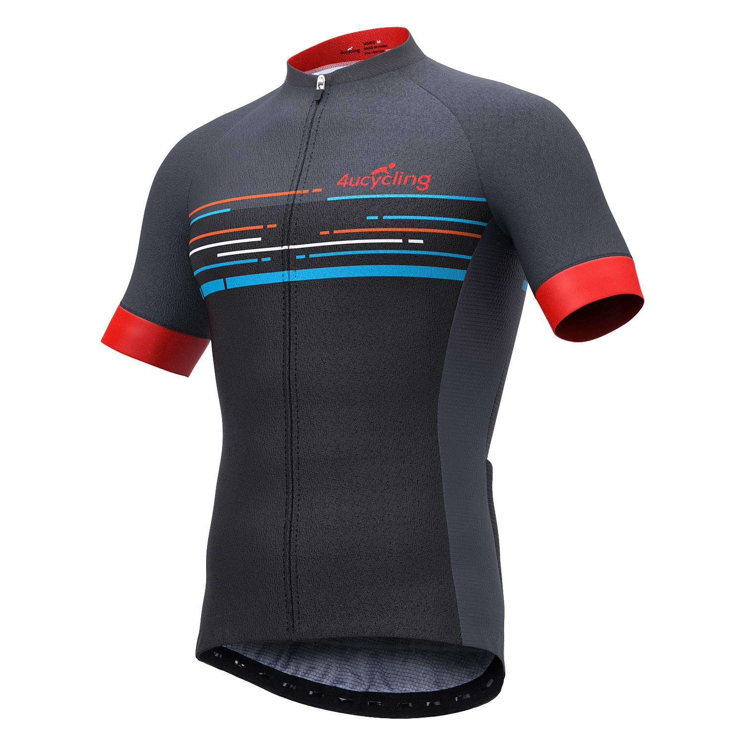 d5095c9df 4ucycling Men s Short Sleeve Cycling Jersey Newest in 2019 with 3 Rear  Pockets - Full Zip