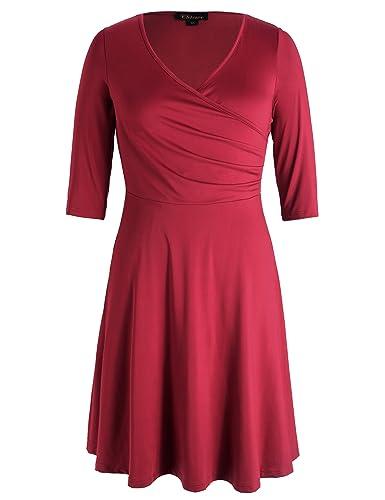 Chicwe Donna Taglie Forti A-Line Vestito Elegante Casuale con Maniche 3/4 Cross V Collare 1X-4X
