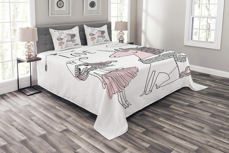 Lunarable Doodle ベッドスプレッド 手描き ユニコーンと女の子 スカーフ付き 冬の季節のアレンジメント 装飾キルトカバーセット 枕カバー付き ペールピンク ブラック ホワイト クイーン bed_59625_queen B07HX4RM68 マルチ1 クイーン