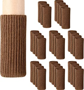 Zhehao 32 Packs Chair Leg Socks Knitted Furniture Socks Leg Floor Protectors Furniture Table Feet Covers (Brown)