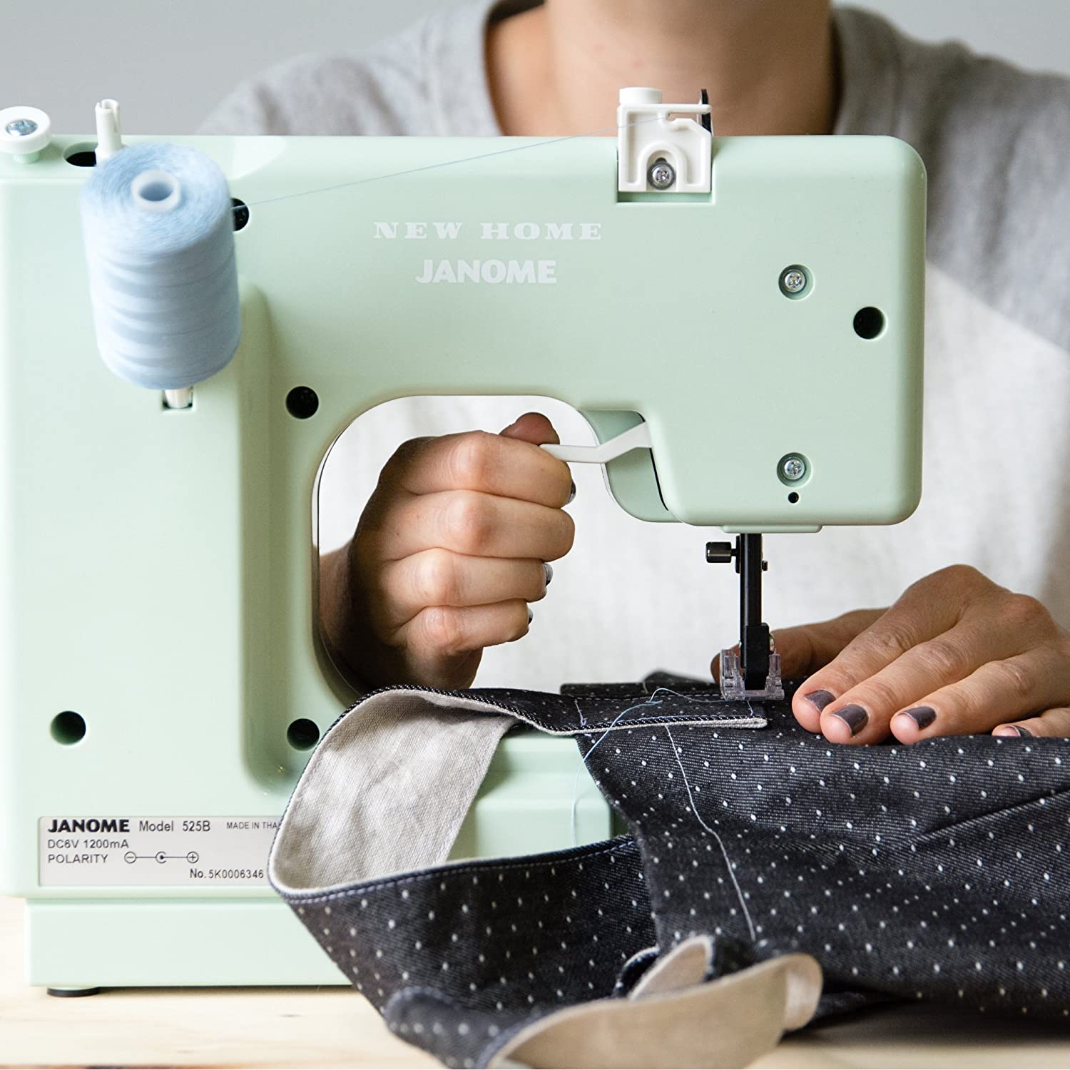 10-Stitch Portable Janome Mystical Mint Basic Easy-to-Use Compact Sewing Machine with Free Arm only 5 pounds