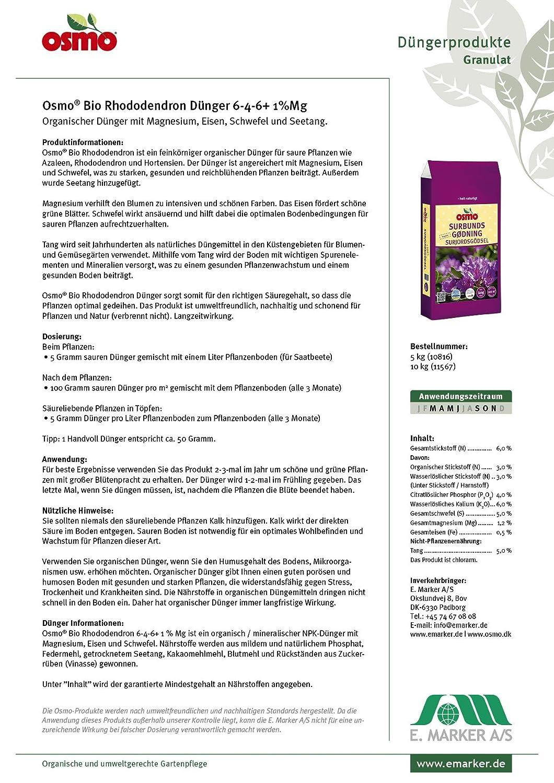 Osmo Bio Fertilizante orgánico de rododendro 6-4-6 + 2% Mg, saco de 5 kg Fertilizante orgánico con algas marinas para un rododendro, hortensias, ...