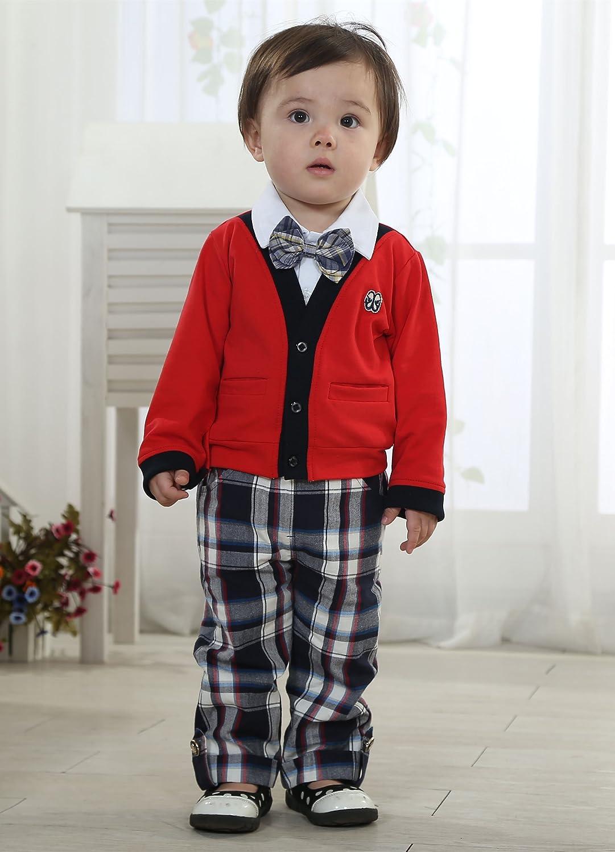 Baby Leonardo Little Boys 3pcs長袖ClothingセットOutfit 3L レッド B00NBFC0P4